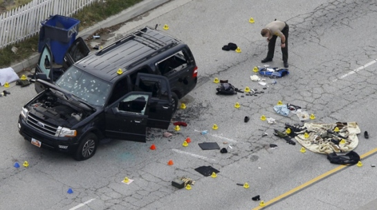 San Bernadino Shootout Isis Wife shot from rear while husband drove. Police were fired upon over 70 times before unloading rounds into the SUV till return fire stopped. Both terrorists were dead at the scene.